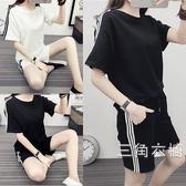 套裝運動套裝女夏2019新品休閒韓版學生時尚寬松晨跑服短袖短褲兩件套