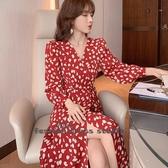 依二衣 洋裝 早秋新款名媛款氣質優雅方領一片式收腰顯瘦長款法式連身裙