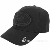 PRADA 品牌家徽不修邊設計帆布棒球帽(黑色)1920156-01