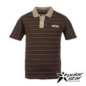 PolarStar 男 排汗快乾條紋POLO衫『咖啡』P17125 吸濕排汗│商務休閒服│短袖透氣運動服