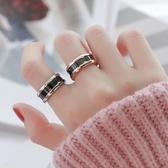 情侶戒指 網紅時尚玫瑰金鈦鋼簡約食指環戒指男女情侶窄版黑色陶瓷對戒飾品【快速出貨】