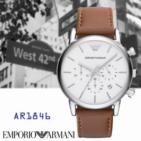 ARMANI亞曼尼 經典鷹翅LOGO三眼碼表皮帶男錶x42mm白・AR1846|名人鐘錶高雄門市