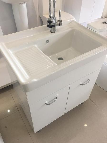 洗衣槽+浴櫃(收納)+水龍頭+所有配件 二用大槽面 寬72*深48*高83cm 防水PVC發泡板 品質超優外銷日本