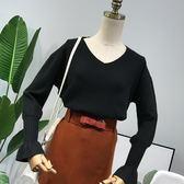 新款時尚潮流韓版純色寬松v領針織毛衣女