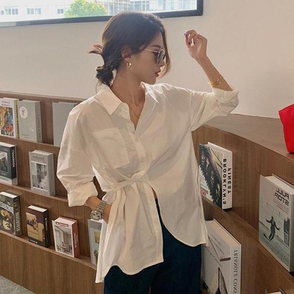 白色襯衫女設計感小眾2021春夏新款復古港味上衣時尚洋氣百搭襯衣