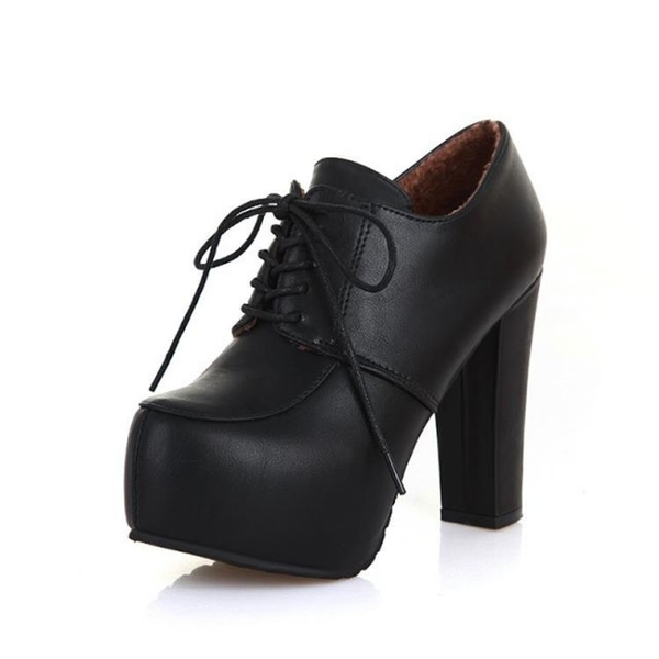 冬新款韓版時尚百搭女士短靴高跟粗跟加絨保暖圓頭系帶皮靴
