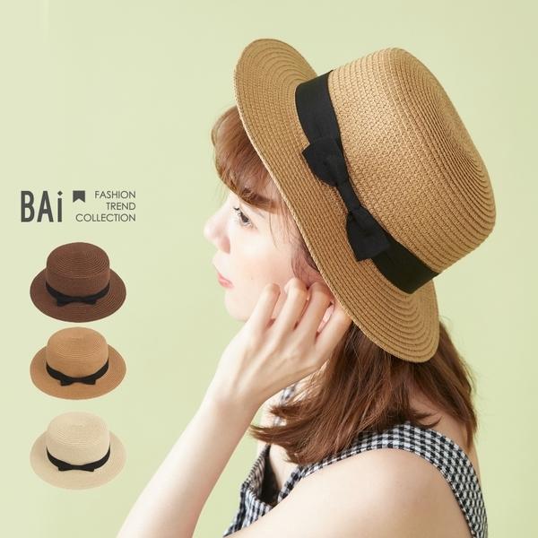 草帽 立體感蝶結編織遮陽帽-BAi白媽媽【308331】