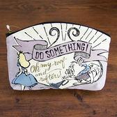【震撼精品百貨】Disney 迪士尼公主系列~愛麗絲玫瑰迷宮系列帆布扁平化妝包(兔子先生紫)