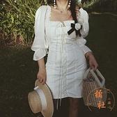 宮廷風連衣裙女法式復古重工抽繩度假裙長裙【橘社小鎮】