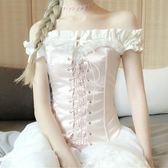 一字領洋裝自制粉色一字肩連身裙綁帶小個子高腰sukol裙小清新洛麗塔洋裝裙 法布蕾輕時尚igo