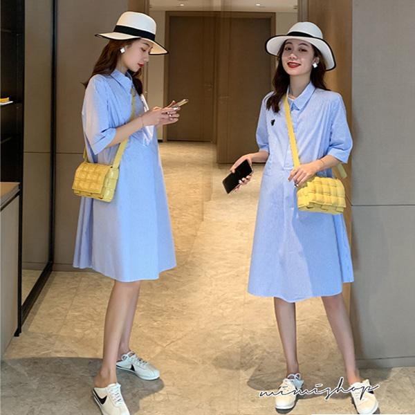 孕婦裝 MIMI別走【P521099】簡約好氣質 顯瘦寬襬襯衫裙 孕婦裙 洋裝 寬版