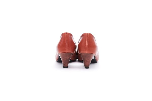 MICHELLE PARK 經典手工露腳趾時尚百搭真皮粗跟魚口鞋-橘色