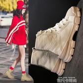 2020新款女高筒軍靴歐美風街頭休閒百搭潮鞋秋季馬丁靴帆布運動鞋 依凡卡時尚
