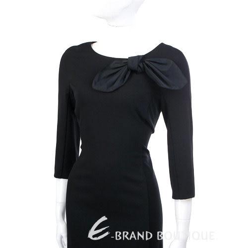 MOSCHINO 黑色蝴蝶結飾七分袖洋裝 1230478-01