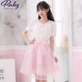 洋裝 露比設計‧荷葉刺繡綁帶假兩件短袖洋裝-Ruby s 露比午茶