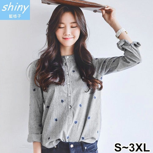 【V1921】shiny藍格子-小清新.條紋刺繡樹葉前排釦長袖上衣