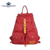 【COLORSMITH】WAY・輕束繩雙口袋後背包-紅色・WAY1342-RE-S