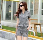 夏季新款時尚短褲短袖兩件套名媛小香風OL職業休閒氣質套裝女