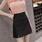 窄裙 短裙女2019夏季新款春高腰包臀a字黑色工作裙半身裙職業裝一步裙 小宅女
