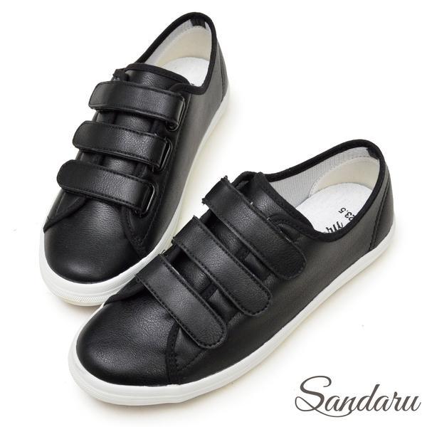 訂製鞋 超軟皮革三帶魔鬼氈休閒鞋-山打努SANDARU【2388521】黑色下單區
