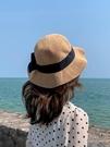 草帽 蝴蝶結草帽女沙灘出游度假韓版潮遮陽防曬帽夏季海邊可折疊太陽帽 非凡小鋪