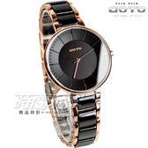 GOTO 輕盈時尚陶瓷腕錶 女錶 玫瑰金電鍍x黑 防水手錶 GS1040L-43-341