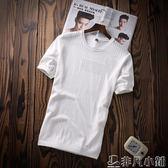 針織衫 絲光棉短袖T恤男2018夏季新款冰絲體恤韓版潮流半袖針織衫男夏裝 非凡小鋪