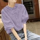 漂亮小媽咪 【C2206KR】棉上衣女蕾絲衫女香芋紫色泡泡袖襯衣女寬松大碼薄款夏裝新款 []