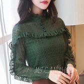 蕾絲打底衫 韓版復古長袖立領荷葉邊修身襯衫 小禮服