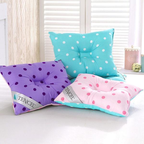【精靈工廠】頂級天絲雙色點點午睡枕-三色任選/兒童枕(B0631)