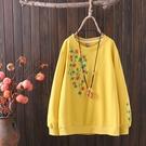 促銷特價 春季新款大碼休閑套頭衫加大碼韓版文藝范繡花朵寬松長袖衛衣