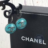 BRAND楓月 CHANEL 香奈兒 湖水綠 藍綠色 雙C 經典LOGO 耳環 飾品 配件