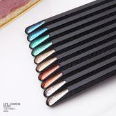 高檔六角鑲個性合金筷子日式創意不發霉防滑家用禮品10雙套裝快子 森活雜貨