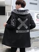 中長款風衣男冬季加絨加厚毛領外套韓版潮流修身青少年學生大衣男 樂活生活館