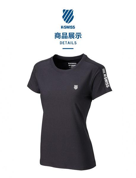 K-SWISS  PF RE Melange Tee排汗T恤-女-黑