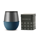 HYDY 時尚蛋型杯 海軍藍-鈦灰 240ml +山山來茶鐵盒組