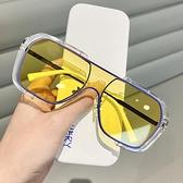 墨鏡 網紅連體大框方形墨鏡女復古ins黃色太陽眼鏡男士開車防紫外線潮 韓國時尚週