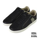 Royal Elastics Genesis 黑色 皮質 套入 休閒運動鞋 男款 NO.B1486【新竹皇家 01902-993】