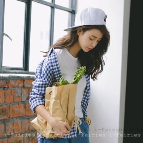 現貨+快速★經典格紋長袖襯衫外套★ifairies【31103】