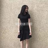 春夏裝新款短袖魚尾洋裝女修身氣質小香風收腰荷葉邊裙子潮 快速出貨