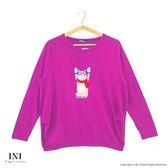【INI】休閒溫暖、簡單輕鬆好感長袖上衣.紫紅色