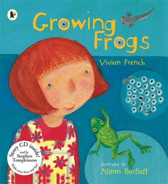 【麥克書店】GROWING FROGS /英文繪本附CD 《主題:自然科學》