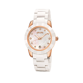 【Folli Follie】Prismatic海洋精靈時尚陶瓷腕錶-玫金白/WF13R052BTW_XX/台灣總代理公司貨享兩年保固