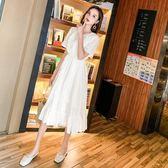 洋裝 長裙 連身裙 夏天新款韓版少女風仙女連衣裙女中長款荷葉邊短袖白色A字束腰裙