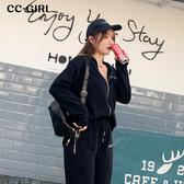 中大尺碼 運動風黑色連帽外套 - 適XL~4L《 69073 》CC-GIRL