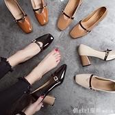 2020春季新款高跟粗跟皮帶扣韓版淺口單鞋女方頭休閒女鞋子低幫鞋 元旦狂歡購