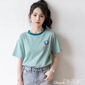 冰絲T恤2020夏季新款清涼冰絲爽棉薄款短袖t恤少女寬鬆百搭韓版學生上衣 小天使