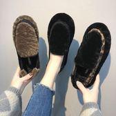樂福鞋 秋冬羔毛毛鞋女加絨豆豆棉鞋女懶人一腳蹬保暖  新主流