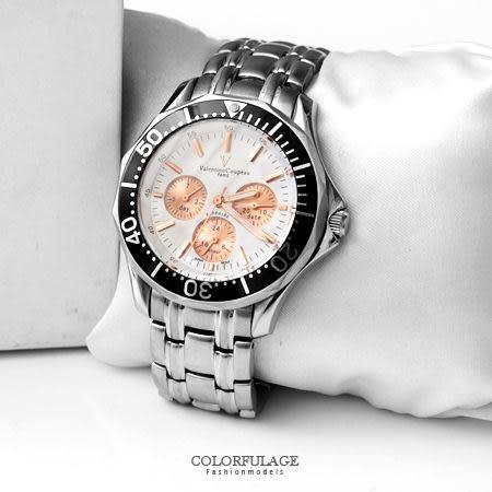 范倫鐵諾Valentino 可旋轉外框真三眼設計不鏽鋼手錶 藍寶石水晶 原廠公司貨 柒彩年代【NE1384】單支