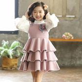 女童洋裝新款韓版秋季兒童公主裙超洋氣背心裙荷葉邊毛呢裙 zm12601【每日三C】